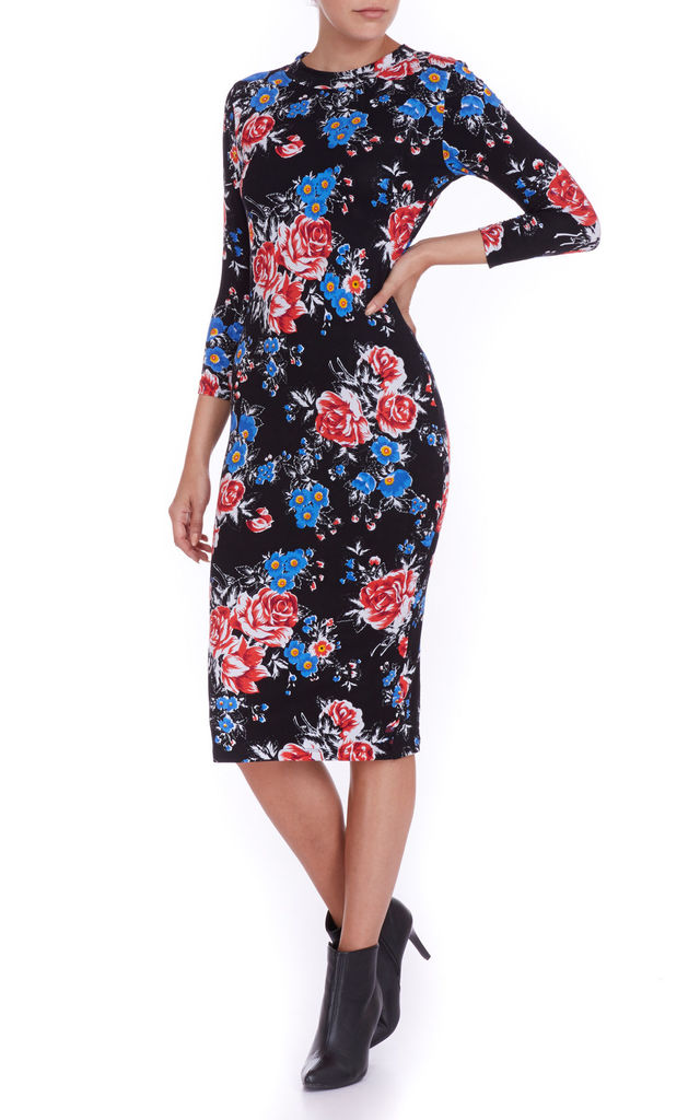 Black Floral Tube Dress by Ruby Rocks