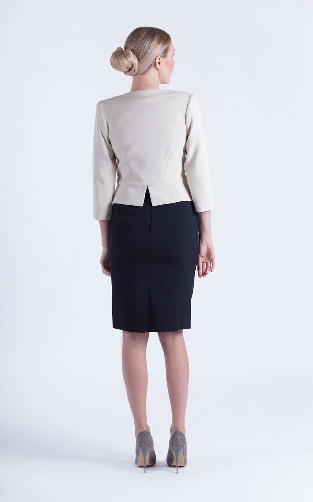 Aria 3/4 Sleeve Jacket in Beige by JEVA FASHION