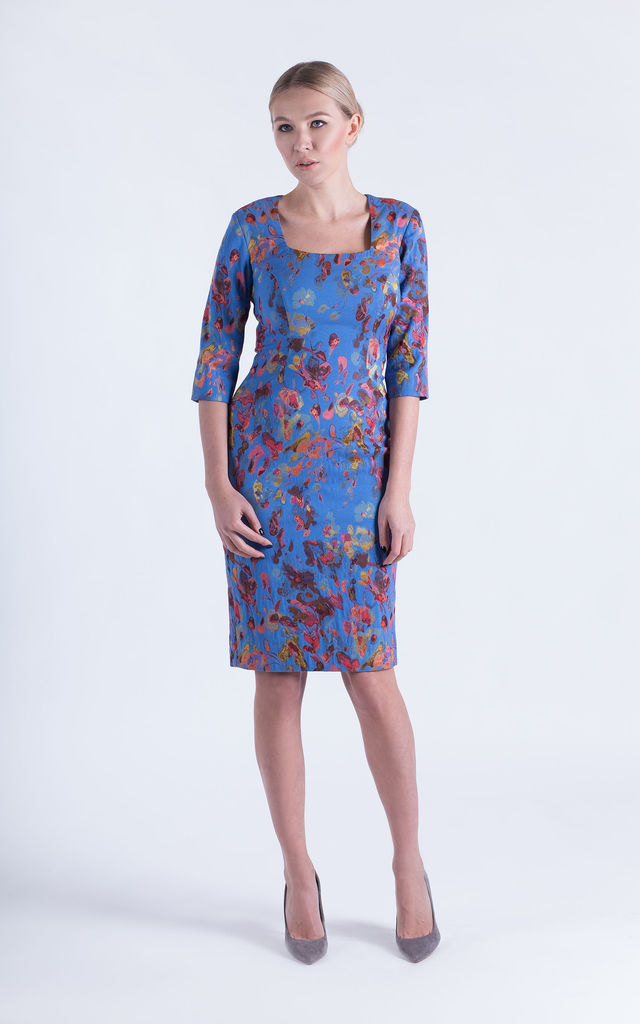 Fitted, Pencil Dress With long Sleeves by JEVA FASHION