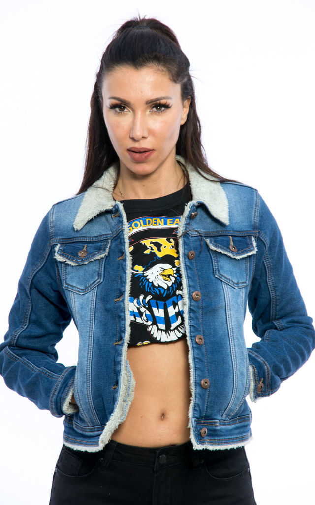 Cropped Denim Collar Jacket with Borg - Blue by Npire London