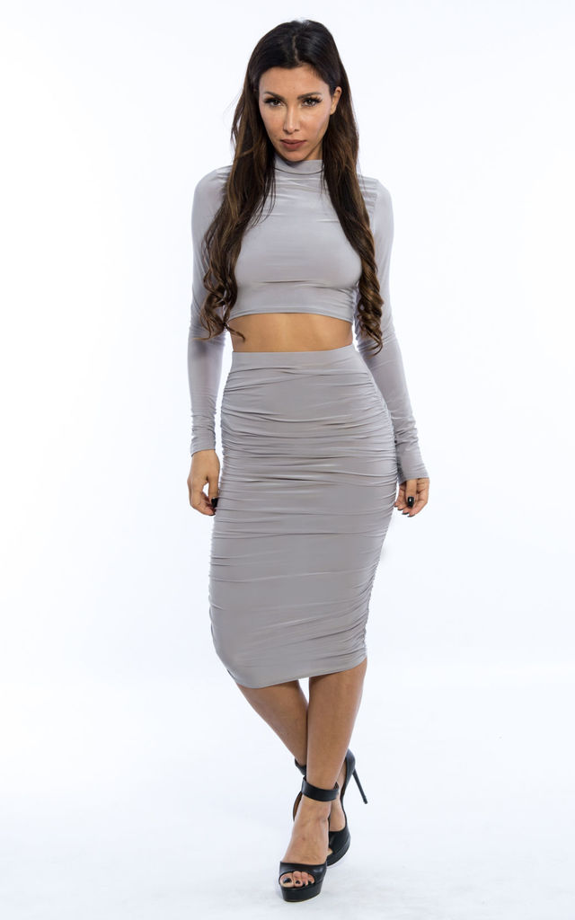 Ruched Highneck Co-Ord -Grey by Npire London