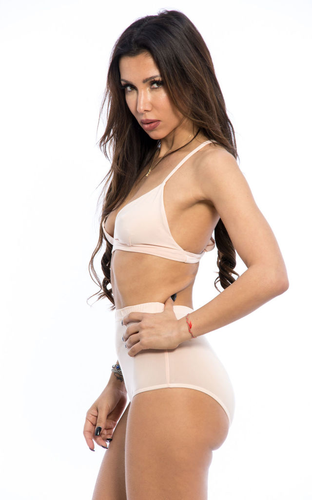Slinky Triangle Bralette & Hot Pant Co-Ord Set - Cream by Npire London