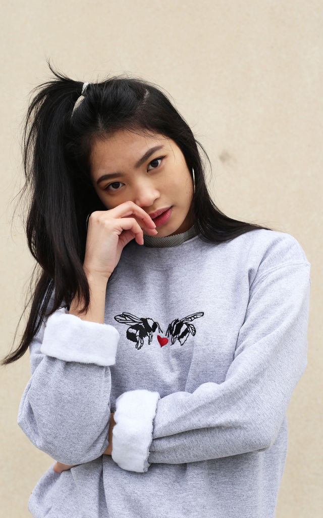Embroidered 'meant to bee' Valentine sweater by Emma Warren