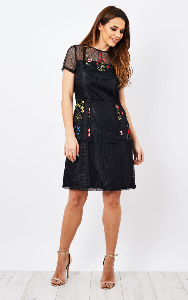 Floral Embroidery Mesh Dress in Black by D.Anna