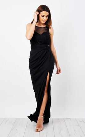 Hand beaded lace embellished maxi dress with sheer detail in black by D.Anna