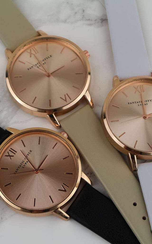 White Strap Rose Gold Lifestyle Watch by Arcus Accessories