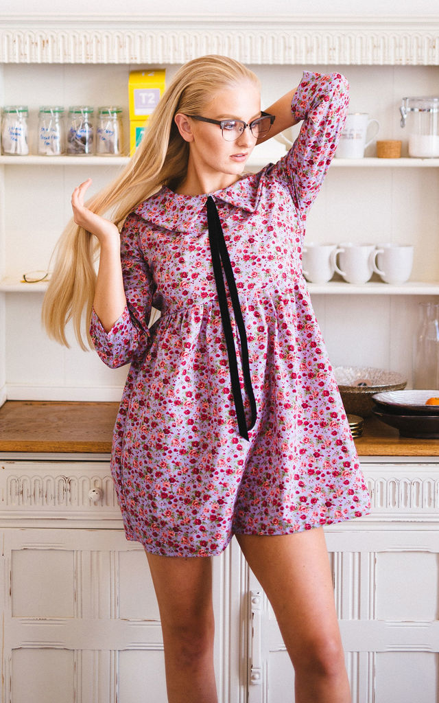 Kansas Flowers Smock Dress by Vintage Style Me