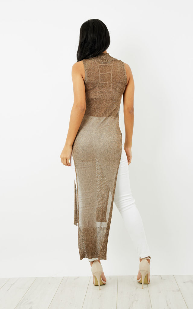 Gold Metallic Sleeveless Knitted Top by Glamorous