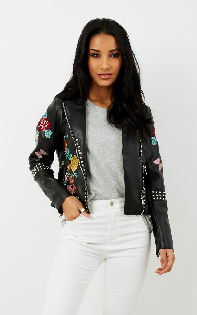 Floral Embroidered Black Leather Jacket by Glamorous