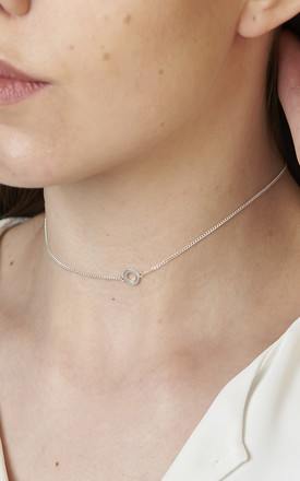 Sterling Silver Tiny Circle Choker by DOSE of ROSE Product photo