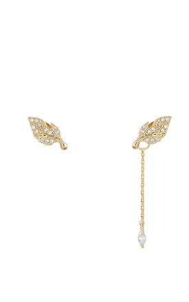Asymmetric Leaf Two Way Earrings Gold by DOSE of ROSE