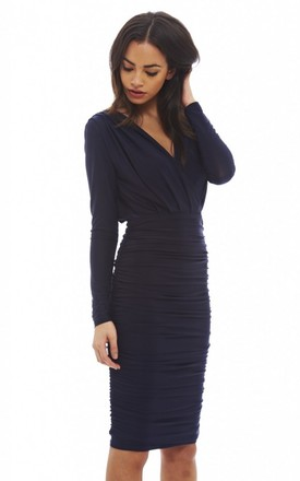 Navy V Front Slinky Midi Dress by AX Paris Product photo