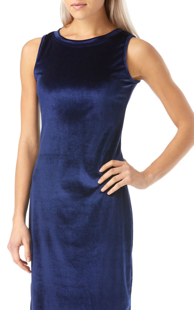 Navy Velvet Vest Dress with Silver Leopard Embroiderie by Ruby Rocks