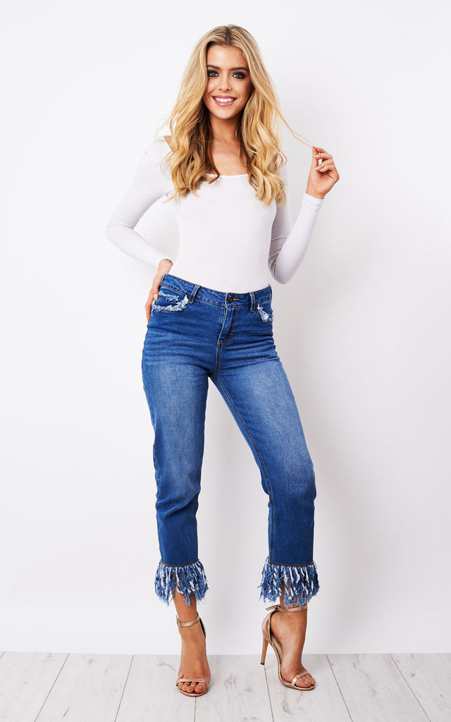 Tassel Hem Mid Wash Slim Jeans by Neon Rose