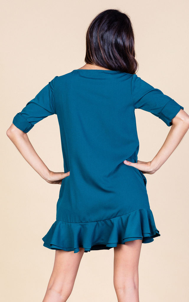 Renee Ruffle Dress in Pine Green image