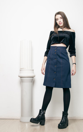 70s vintage button front denim skirt by Pop Sick Vintage