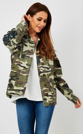Camo Long Sleeve Sequin Jacket by Glamorous