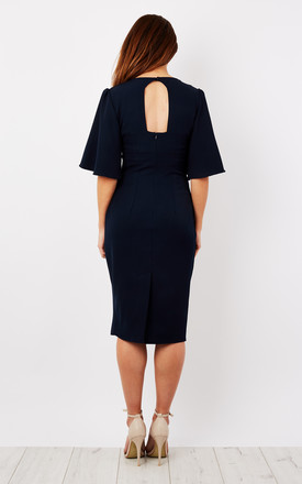 Navy Kimono Sleeve Fitted Dress by Lilah Rose