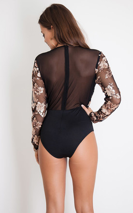 Eva Sequin Long Sleeve Bodysuit Black & Rose Gold by Girl In Mind
