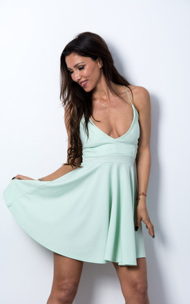 Strappy Cross Back Spring Skater Dress - Light Green by Npire London