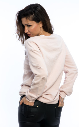 Oversized Distressed Ripped Sweater - Pink by Npire London