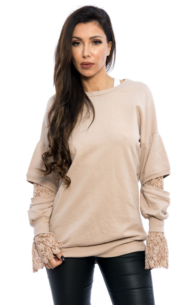 Lace Detail Long Sleeves Oversized Sweater - Beige by Npire London