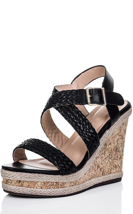 SANDS Platform Espadrille Cork Wedge Heel Barely There Strappy Sandals Shoes - Black Leather Style by SpyLoveBuy
