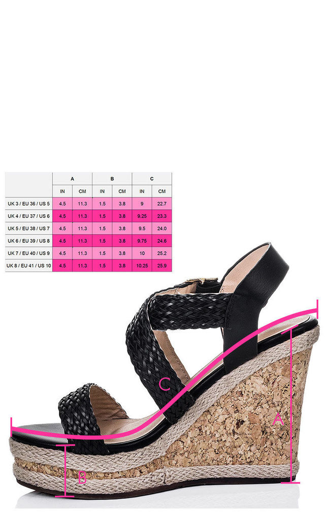 af26686792e4 ... SANDS Platform Espadrille Cork Wedge Heel Barely There Strappy Sandals  Shoes - Black Leather Style by