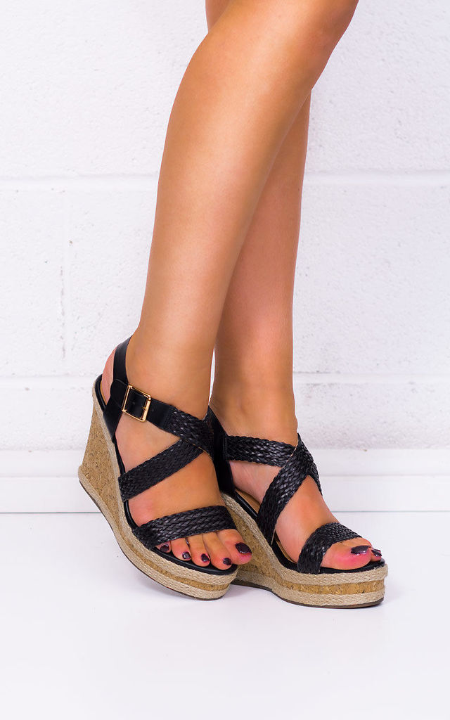 8f23eebf5947 ... SANDS Platform Espadrille Cork Wedge Heel Barely There Strappy Sandals  Shoes - Black Leather Style by ...