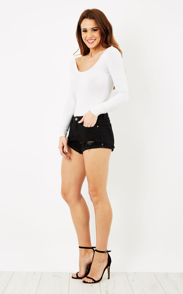 Black Denim shorts with rips by Noisy May