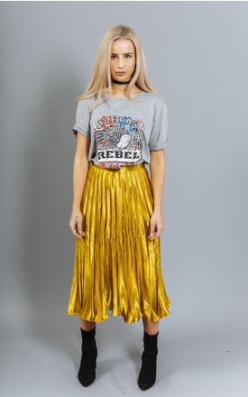 Bella Iridescent Indian Gold Metallic Pleated Midi Skirt. by Material Gal