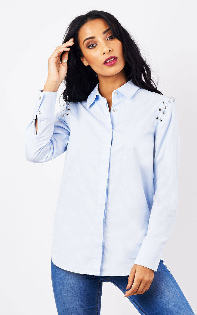 Blue Shirt with metal detail by Lilah Rose