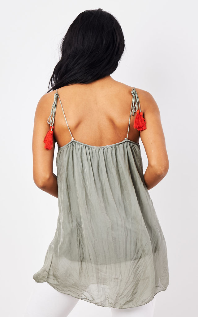 Khaki Red Tassel Tie Straps with Detail Neck by Bella and Blue