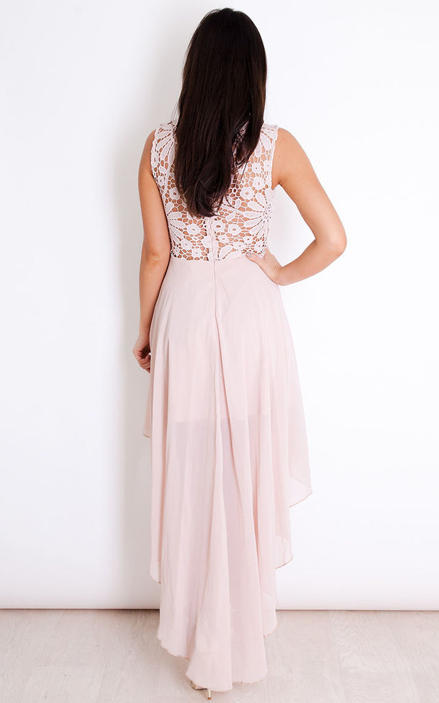 Millie Lace Top Chiffon Dip Hem Dress Nude by Girl In Mind