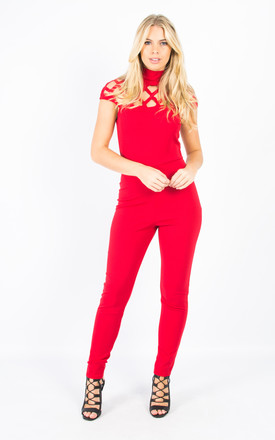 Laser Cut Cage Jumpsuit - Red by Npire London