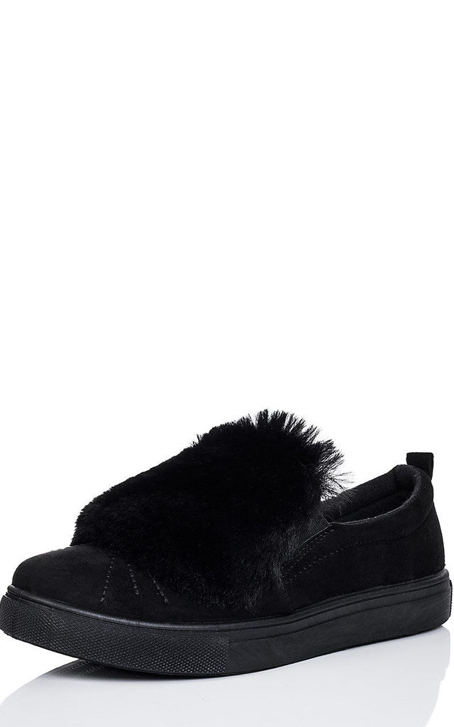 BONBON Furry Flat Loafer Shoes - Black Suede Style by SpyLoveBuy
