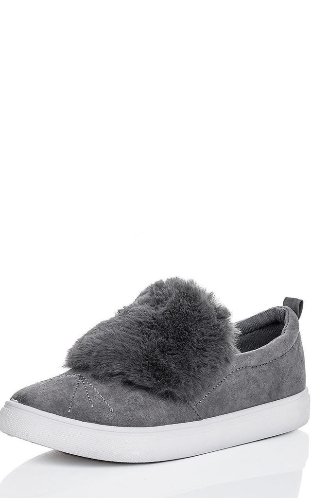 BONBON Furry Flat Loafer Shoes - Grey Suede Style by SpyLoveBuy