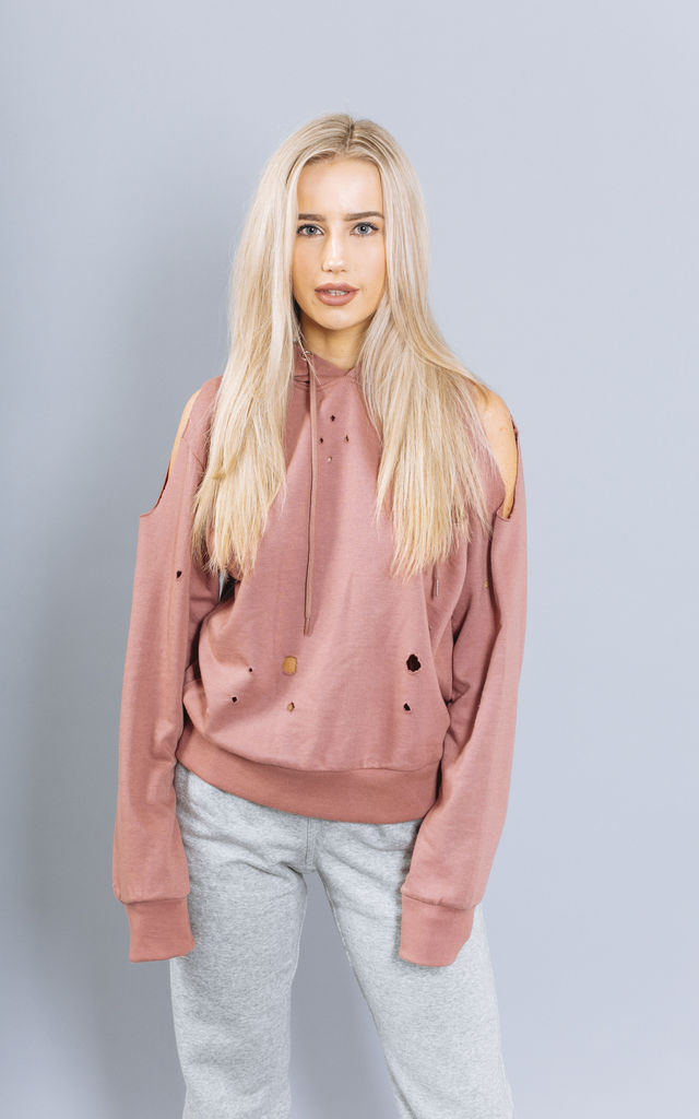 Apollo Nibbled Hoodie in Soft Rose by Material Gal