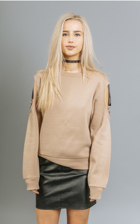Cleo Harness Detail, Cold Shoulder Sweatshirt in Nude Sand by Material Gal
