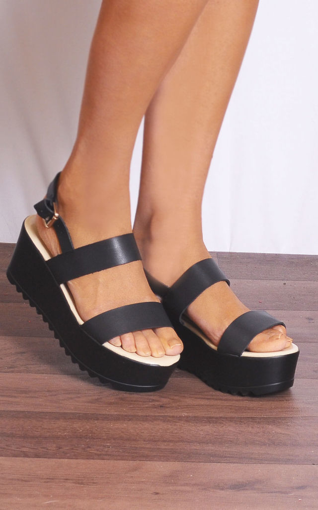Black Cleated Wedged Platforms Wedges Platforms Strappy Sandals by Shoe Closet