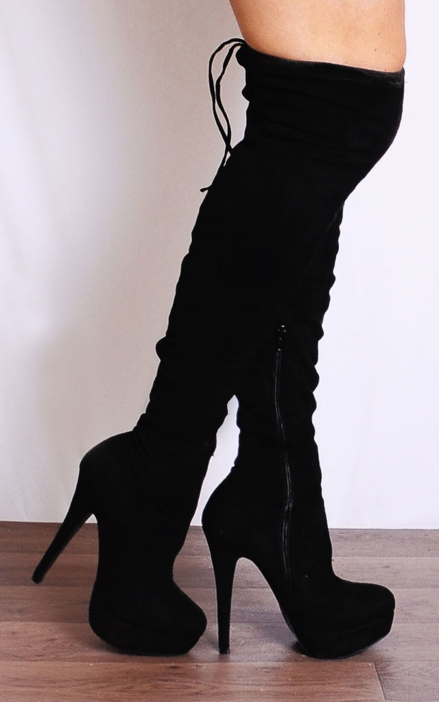 Black Faux Suede Stilettos Platforms Over the Knee Stretch Boots by Shoe Closet