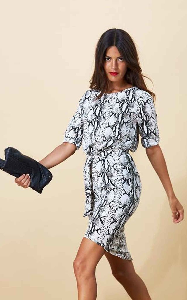 Chiquita Dress in Black and White Python by Dancing Leopard