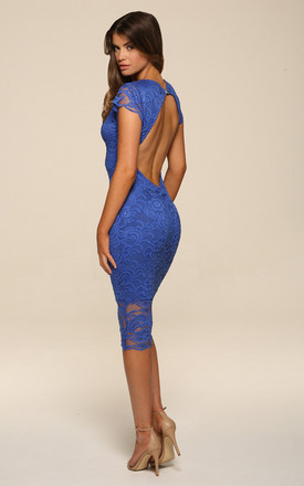 Faye Blue Backless Midi Dress by Honor Gold Product photo