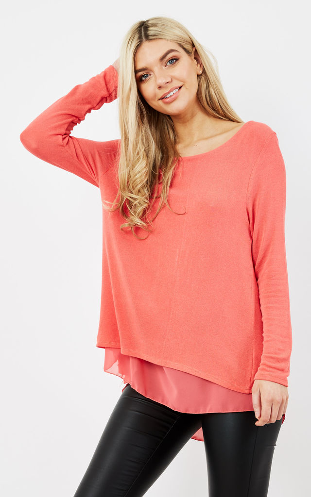 CORAL OVERSIZED BOW BACK KNIT TOP by Aftershock London