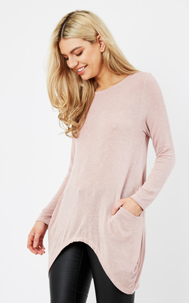 PINK OVERSIZED LONG SLEEVE KNIT POCKET TUNIC TOP by Aftershock London