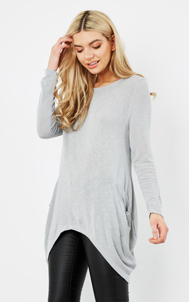 GREY OVERSIZED LONG SLEEVE KNIT POCKET TUNIC TOP by Aftershock London