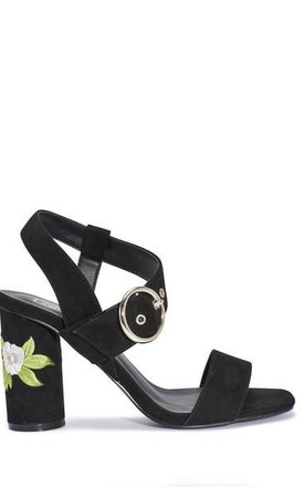 Floral Embroidered Round Mid Heels - Black Suede by AJ | VOYAGE