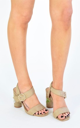 Floral Embroidered Round Mid Heels - Nude Suede by AJ | VOYAGE