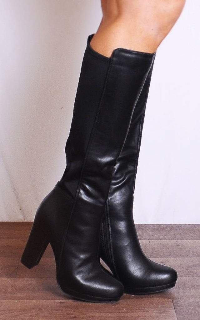 Black Knee High Pu Leather Platforms Boots High Heels by Shoe Closet