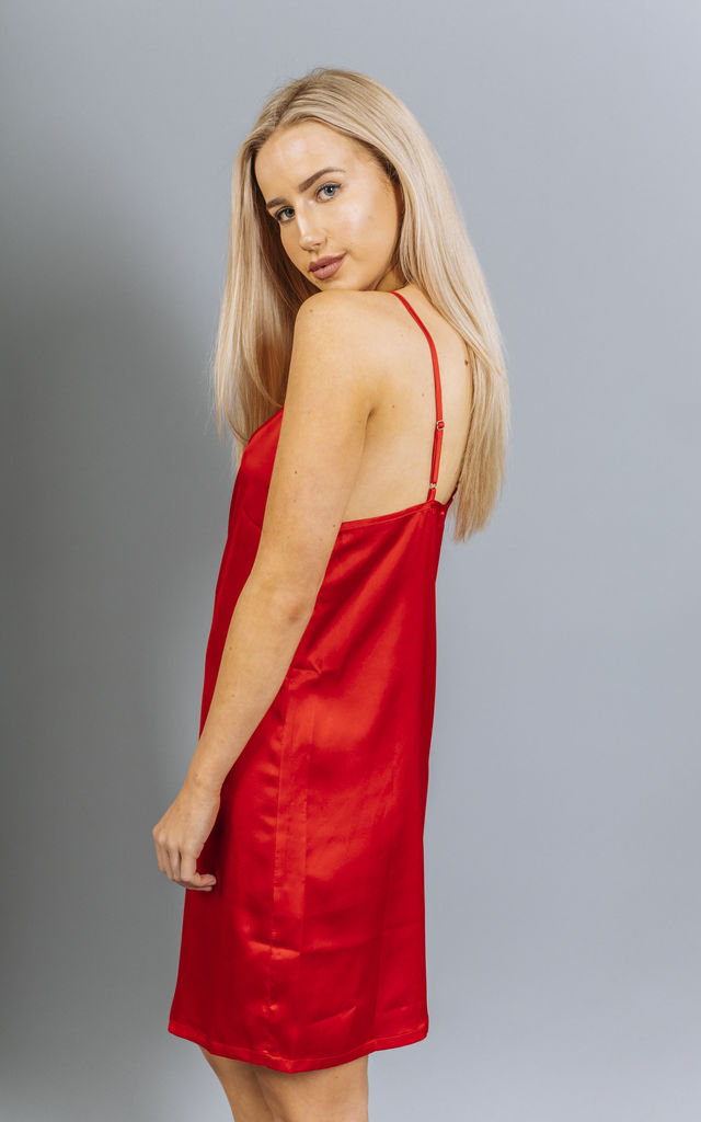 Scarlet Spicy Red Silk Wrap Mini Dress by Material Gal